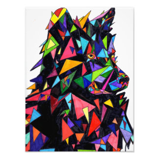 Abstract Wolf Side View Print