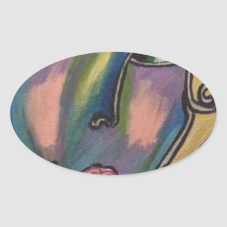ABSTRACT WOMAN OVAL STICKER