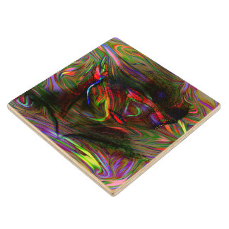 Abstract Woman Two Wood Coaster