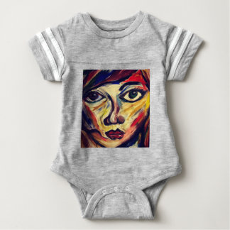 Abstract woman's face baby bodysuit