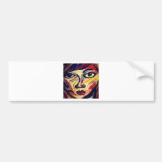 Abstract woman's face bumper sticker