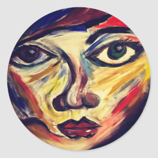 Abstract woman's face classic round sticker