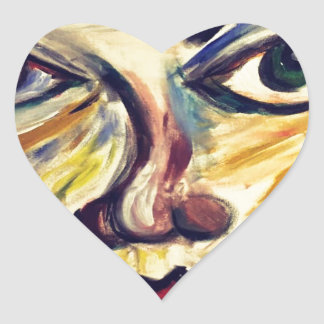 Abstract woman's face heart sticker