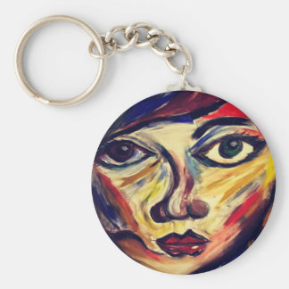 Abstract woman's face key ring