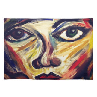 Abstract woman's face placemat