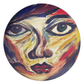 Abstract woman's face plate