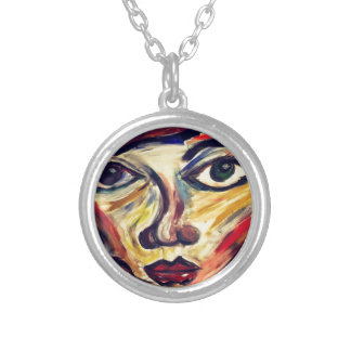 Abstract woman's face silver plated necklace