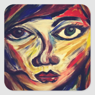 Abstract woman's face square sticker