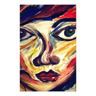 Abstract woman's face stationery
