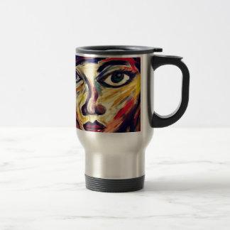 Abstract woman's face travel mug