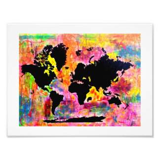 Abstract world map print photograph