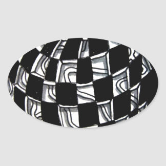 Abstract Worlds Gift Products Oval Sticker