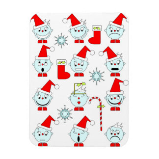 Abstract Xmas Faces Vinyl Magnets