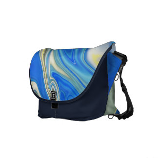 Abstract Yellow and Blue River Commuter Bag Messenger Bag