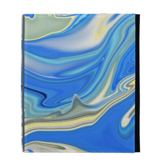 Abstract Yellow and Blue River Delta iPad Case