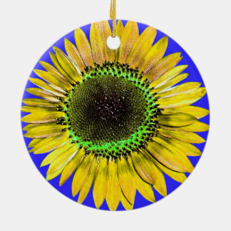 Abstract Yellow Autumn Beauty Sunflower on Blue Round Ceramic Decoration