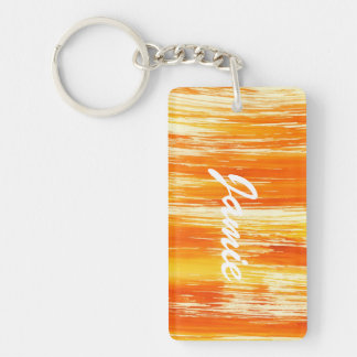 Abstract yellow background from watercolor Double-Sided rectangular acrylic key ring