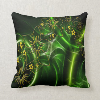 Abstract yellow black and green flower design cushion