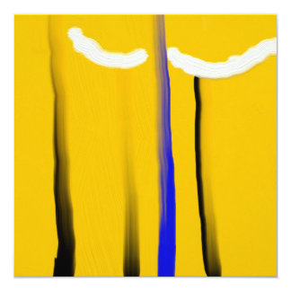 Abstract yellow blue black white oil painting card