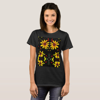 Abstract Yellow Flower T-Shirt - Black
