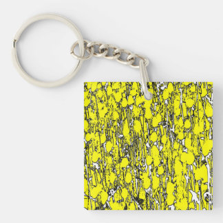 Abstract Yellow Flowers Square Acrylic Keychain