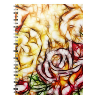 Abstract Yellow Light Rose Artistic Floral Glow Notebook