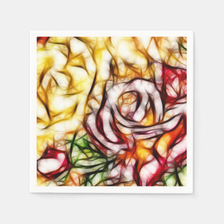 Abstract Yellow Light Rose Artistic Floral Glow Paper Serviettes