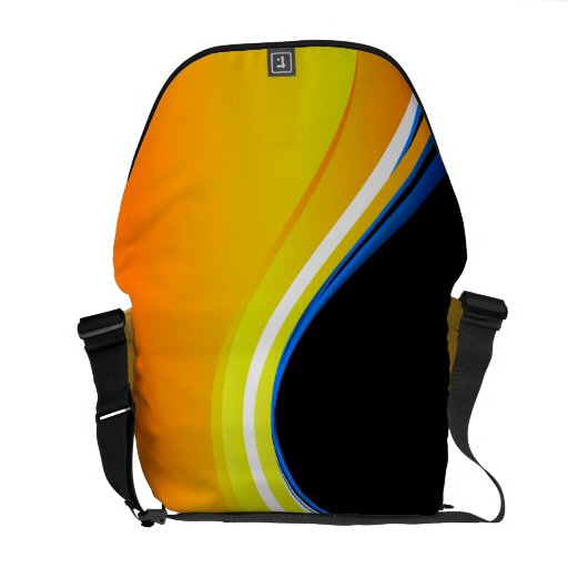 Abstract Yellow Orange Blue Swirl Vector Commuter Bag