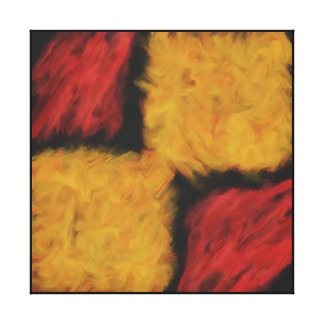 ABSTRACT YELLOW/RED SQUARES CANVAS PRINT