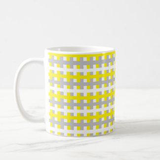 Abstract Yellow, Silver and White Coffee Mug