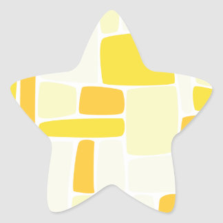 Abstract Yellow Squares Star Sticker