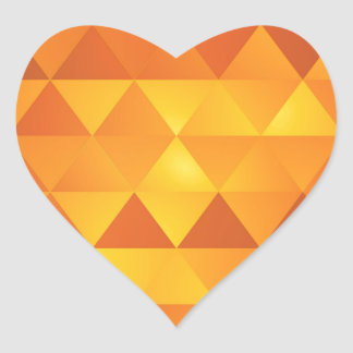 Abstract Yellow Triangles Heart Sticker