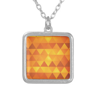 Abstract Yellow Triangles Silver Plated Necklace