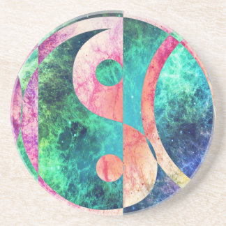 Abstract Yin Yang Nebula Coaster