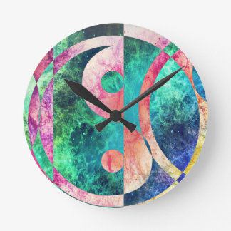 Abstract Yin Yang Nebula Round Clock