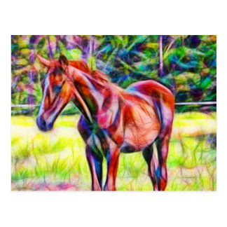 Abstract young horse in field card