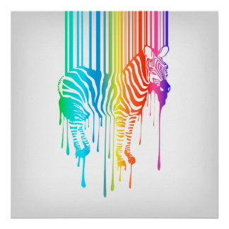 Abstract Zebra With Barcode Poster