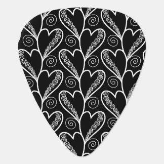 Abstract Zen Doodle Heart Circle Twirls pattern Plectrum