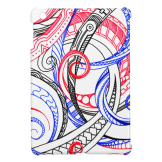 Abstract Zen Doodle Red White Blue Curls & Swirls iPad Mini Cover