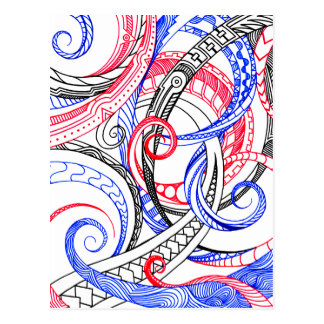 Abstract Zen Doodle Red White Blue Curls & Swirls Postcard