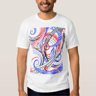 Abstract Zen Doodle Red White Blue Curls & Swirls Tees