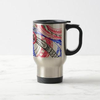 Abstract Zen Doodle Red White Blue Curls & Swirls Travel Mug