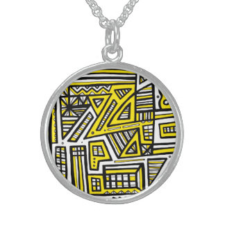 ABSTRACTHORIZ (537)b.jpg Round Pendant Necklace