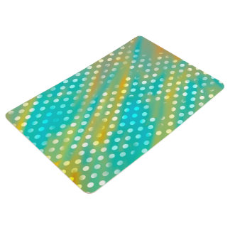 Abstraction Art Blue  And Brown White Polka Dots Floor Mat