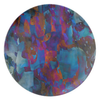 Abstraction Art Blue Cystal Grid Effect Plate