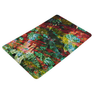 Abstraction Art Green And Red Texture Floor Mat