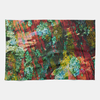 Abstraction Art Green And Red Texture Tea Towel
