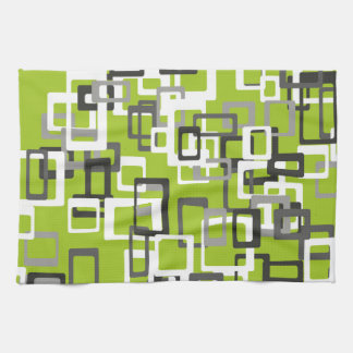 Abstraction Art Squares Pattern Green Background Tea Towel