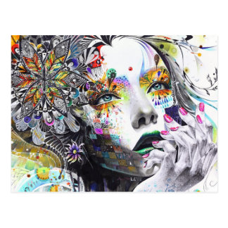 abstraction, painting, colorful girl paint flowers postcard
