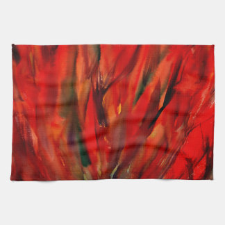 Abstraction Red Flame Art Tea Towel